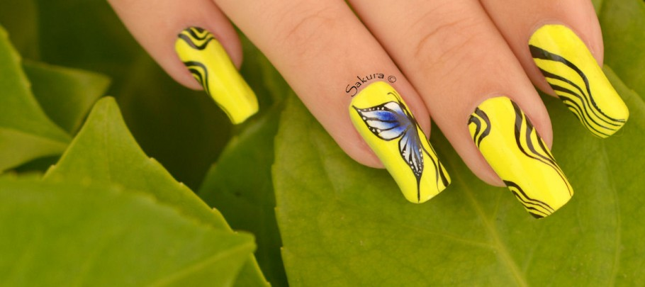 NAIL ART ONE STROKE PAPILLONS FLUO 8